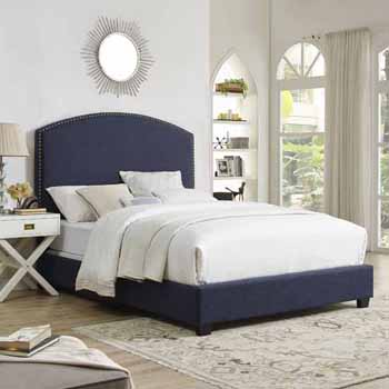 Crosley Furniture Cassie Curved Upholstered Bed Set, Navy Linen Finish
