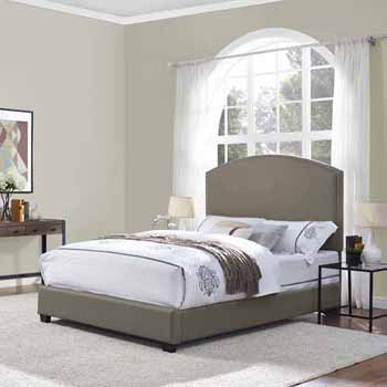 Crosley Furniture Cassie Curved Upholstered Bed Set, Shadow Gray Finish