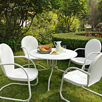 """Crosley Furniture Griffith Metal 40"""" Five Piece Outdoor Dining Set"""