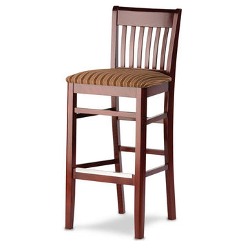 Henry Slat Back Wood Barstool with Upholstered Seat by Cambridge