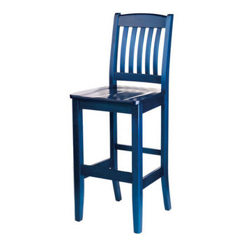 Bulldog Slat Back Wood Bar Stools by Cambridge