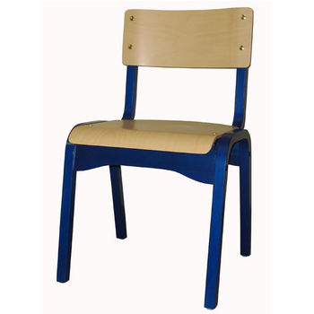 Cambridge Carlo Stacking Chair Custom, Wooden Frame & Seat in Different Stains