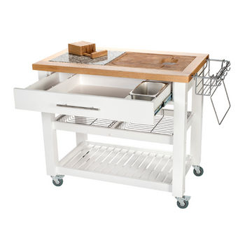 Chris & Chris Pro Chef Food Prep Station in White, 40-1/2'' W x 24'' D x 35-3/4'' H