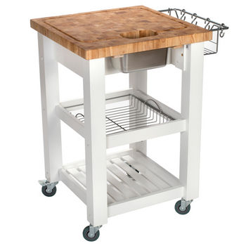 Chris & Chris Pro Chef Food Prep Station in White, 24'' W x 24'' D x 35-3/4'' H