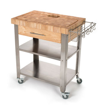 "Chris & Chris Stadium Series Kitchen Work Station with 2-1/2"" Solid End or Acacia Grain Top, Solid Stainless Shelves and Legs, 30'' W x 20'' D x 36'' H"
