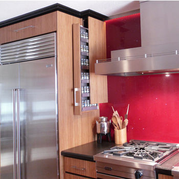 """Dropout Cabinet Fixtures Spice Rack Storage System, Right or Left Facing in Silver, 4"""" W x 11-1/2"""" D x 37-1/2"""" H"""