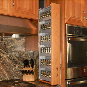 """Dropout Cabinet Fixtures Spice Rack Storage System, Left Facing in Silver, 4"""" W x 11-1/2"""" D x 37-1/2"""" H"""