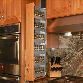 """Dropout Cabinet Fixtures Spice Rack Storage System, Right Facing in Silver, 4"""" W x 11-1/2"""" D x 37-1/2"""" H"""