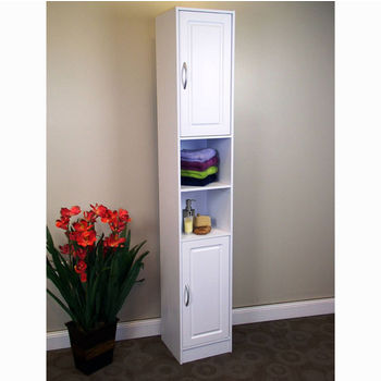 Freestanding Bathroom Storage Tower with Pull-Out Hamper