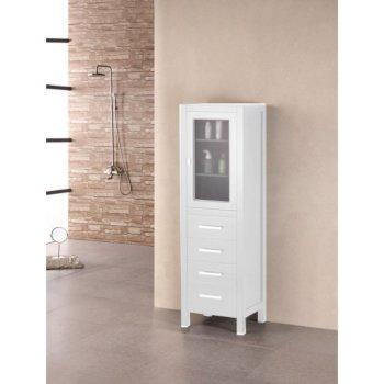 "Design Element London 65"" Linen Cabinet in Pure White, 18"" W x 18"" D x 65"" H"