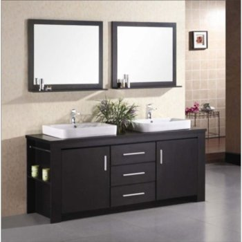 Design Element Washington 72 Double Sink Vanity Set With 2 Wall Mirrors In Espresso W X 22 D 31 H