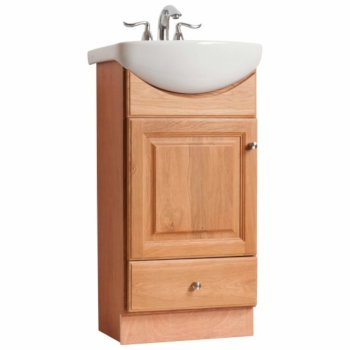 diamond fixtures vanity set with white china top bathroom sink and petite style bath vanity in a oak finish