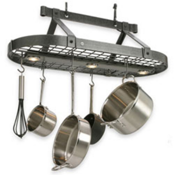 Lighted Pot Racks With Downlights Or Candelabra Style Lights Kitchensource