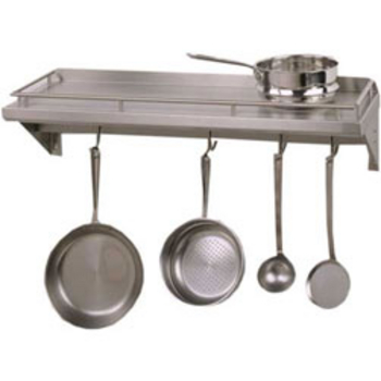 Wall Mounted Pot Racks In Rectangular Half Round Bar