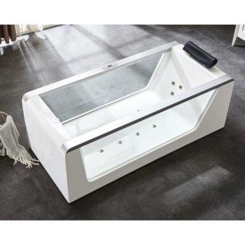 White 6 Feet Clear Acrylic Whirlpool Bathtub