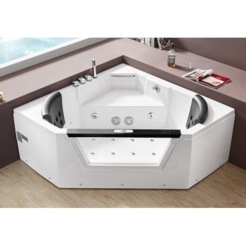 White 5 Feet Clear Corner Bathtub For Two