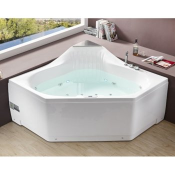 "EAGO 5 Feet Rounded Corner Acrylic Whirlpool Bathtub For Two in White, 59"" W x 59"" D x 31-1/2"" H"