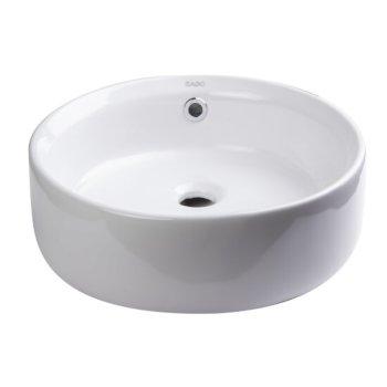"EAGO 16"" Round Ceramic Above Mount Bathroom Basin Vessel Sink in White, 15-3/4"" Diameter x 6-1/8"" H"