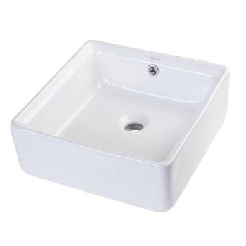 "EAGO 15"" Square Ceramic Above Mount Bathroom Basin Vessel Sink in White, 15"" W x 15"" D x 6-1/8"" H"
