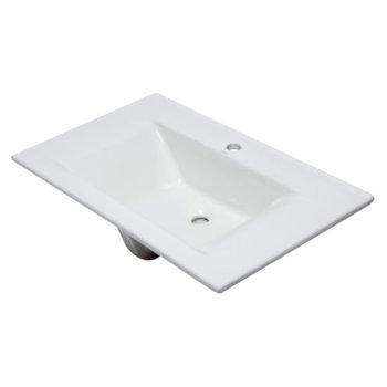 "EAGO Ceramic 32"" x 19"" Rectangular Drop In Sink in White, 31-1/2"" W x 18-7/8"" D x 7-1/2"" H"