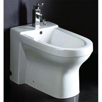 "EAGO Ceramic Bathroom Bidet with Elongated Seat in White, 14"" W x 23-3/4"" D x 15-1/3"" H"