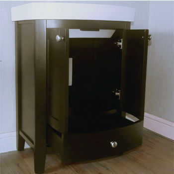 """Empire Arch 24"""" Semi-Round Black Vanity with Two Doors And One Drawer, 22-3/5''W x 17.2''D x 32''H"""