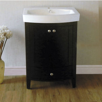 "Empire Arch 24"" Semi-Round Black Vanity with Two Doors And One Drawer, 22-3/5''W x 17.2''D x 32''H"