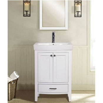 Empire Arch Vanity Base With Cabinet And Two Drawers White 22 3 8 W X 17 16 D 31 7 H