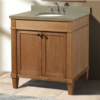 "Empire Industries Cambridge Collection 30"" Vanity with Quartz Nova Café Latte Countertop  and Biscuit or White Undermount Sink Bowl Installed, 30"" W x 21-1/2"" D x 33-5/16"" H"