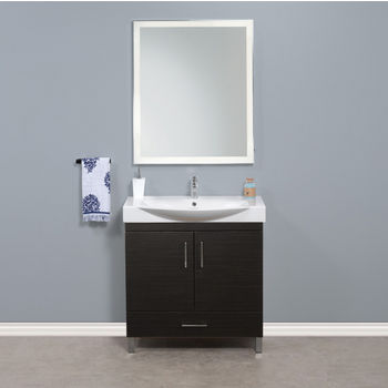 """Empire Industries Daytona 2 Doors and 1 Bottom Drawer Bathroom Vanity for 34"""" Ipanema Ceramic Sink Top in Blackwood with Polished or Satin Leg Frame and Hardware"""