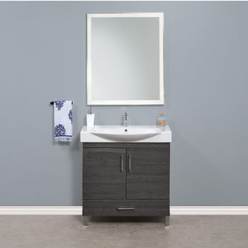 """Empire Industries Daytona 2 Doors and 1 Bottom Drawer Bathroom Vanity for 34"""" Ipanema Ceramic Sink Top in GreyLine Gloss with Polished or Satin Leg Frame and Hardware"""
