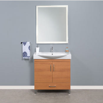 """Empire Industries Daytona 2 Doors and 1 Bottom Drawer Bathroom Vanity for 34"""" Ipanema Ceramic Sink Top in Golden Wheat with Polished or Satin Leg Frame and Hardware"""