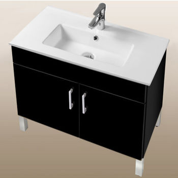 "Empire Industries Daytona Collection 30"" 2-Door Bathroom Vanity in Black Gloss with Polished or Satin Leg Frame and Hardware"