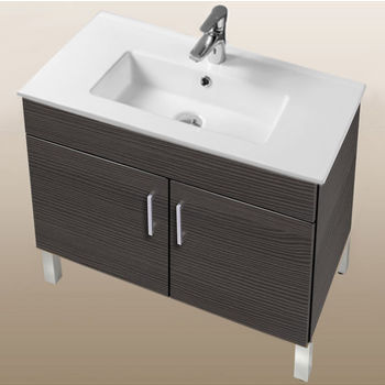"Empire Industries Daytona Collection 30"" 2-Door Bathroom Vanity in Greyline Gloss with Polished or Satin Leg Frame and Hardware"