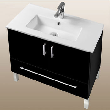 "Empire Industries Daytona Collection 30"" 2-Door/1-Drawer Bathroom Vanity in Black Gloss with Polished or Satin Leg Frame and Hardware"