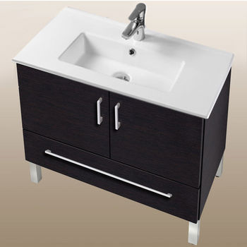 "Empire Industries Daytona Collection 30"" 2-Door/1-Drawer Bathroom Vanity in Blackwood with Polished or Satin Leg Frame and Hardware"