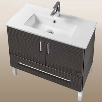 "Empire Industries Daytona Collection 30"" 2-Door/1-Drawer Bathroom Vanity in Greyline Gloss with Polished or Satin Leg Frame and Hardware"