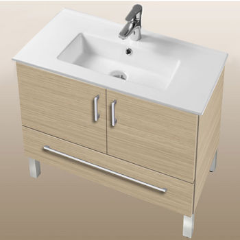 "Empire Industries Daytona Collection 30"" 2-Door/1-Drawer Bathroom Vanity in Pickled Oak with Polished or Satin Leg Frame and Hardware"