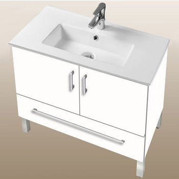 "Empire Industries Daytona Collection 30"" 2-Door/1-Drawer Bathroom Vanity in White Gloss with Polished or Satin Leg Frame and Hardware"