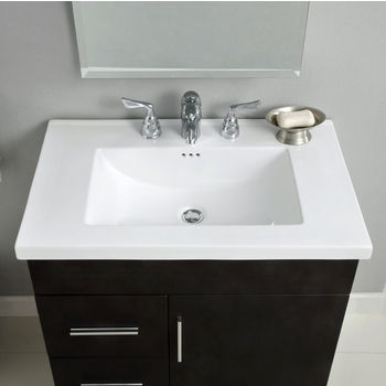 "Empire Industries 30"" Kira Ceramic Top Sink with Single Hole or 8"" Widespread Drill in White"