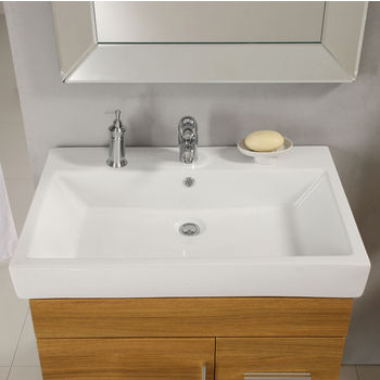 "Empire Industries 30"" Milano Ceramic Top Sink with Single Hole in White"