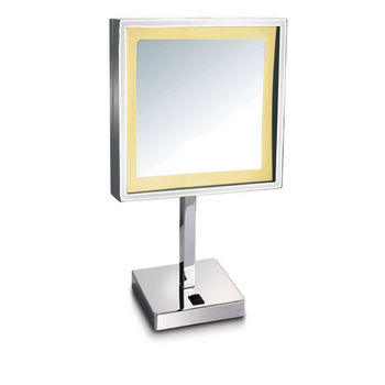 """Empire Lighted Table Top Square Tilt Cosmetic Mirror 8"""" W x 8"""" H, 5X Magnification in Polished Chrome"""