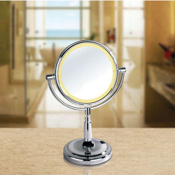 """Empire Lighted Table Top Round 360° Swivel Cosmetic Mirror 8"""" Diameter, 5X Magnification, Battery Operated in Polished Chrome"""