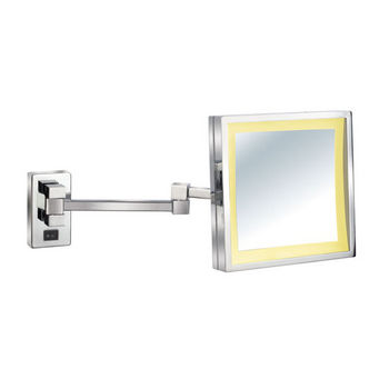 """Empire Lighted Wall Mount Square Tilt Cosmetic Mirror 8"""" W x 8"""" H with Extending Arm, 5X Magnification in Polished Chrome"""