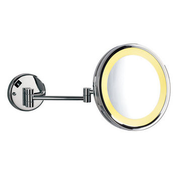 """Empire Lighted Wall Mount Round 360° Swivel Cosmetic Mirror 10"""" Diameter with Extending Arm, 5X Magnification in Polished Chrome"""