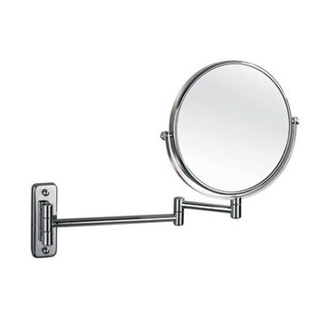 """Empire Wall Mount Round 360° Swivel Cosmetic Mirror 8"""" Diameter with Extending Arm, 5X Magnification in Polished Chrome"""