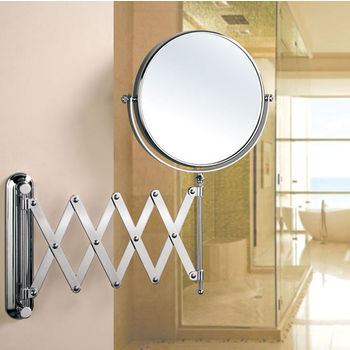 Empire Industries Wall Mount Round 360 Swivel Cosmetic Mirror 8 Diameter With Scissor Design Extending Arm 5x