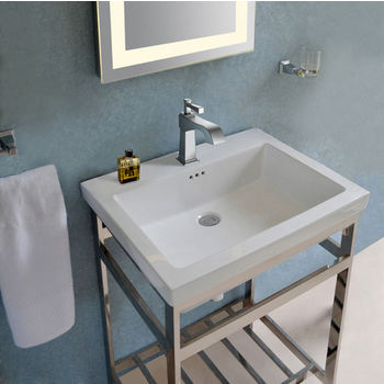Empire Industries New South Beach Vanity Console in Polished Stainless Steel for 24×19 Tops