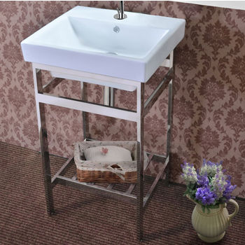 """Empire Industries New South Beach Vanity Console in Polished Stainless Steel for 21"""" Milano Sink"""