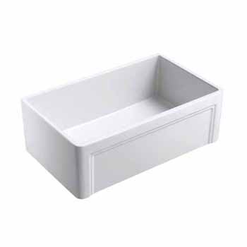 "Empire Industries Olde London 30"" W x 18"" D Reversible Casement Edge Front Fireclay Single Bowl Farmhouse Kitchen Sink in White"